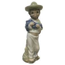Casades Porcelain Statue Young Boy with Dog Figurine
