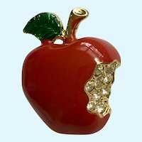Red Apple Brooch Pin with Rhinestones