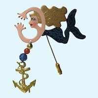 Eccentric Lady Mermaid Straight Pin Brooch Rossi
