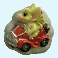 Pocket Dragon Driving a Car Brooch Pin Flambro