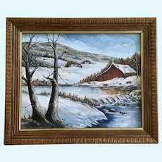 L. Eller, Winter Barn with Cattle Landscape Oil Painting 1988