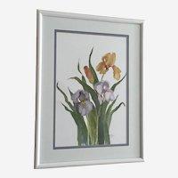 Nora Myers, Iris Flowers Watercolor Painting