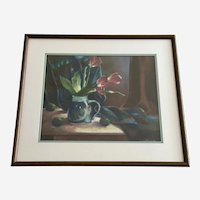 Cory Diep, Tulips Jar with Limes Still Life Pastel Painting