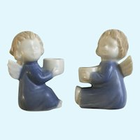 CCCC Japan Angel Blue Candle Holders Satin Finish Figurines