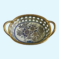 Wildwood Accents Blue Floral Porcelain Pierced Centerpiece Basket 96423