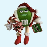 Christmas Green M & M's Stuffed Plush Candy with Added Candy Cane