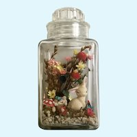 Easter Display Bunny Eggs Dried Flowers in Glass Jar