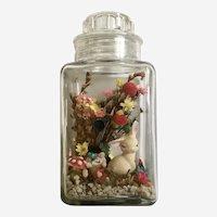 Easter Display Bunny Eggs Dried Flowers in Glass Jar