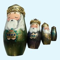 Christmas We Three Kings Hand Painted Wooden Nesting Dolls