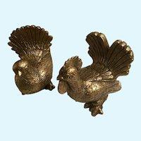 Mid-Century Golden Rooster Hen Chalkware Figurines Progressive Products
