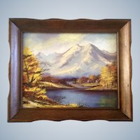 Dot Van Wagner Mountain Landscape Oil Painting on Artist Board 1970's Signed by Artist