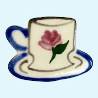 Teacup Teatime Silver-tone Brooch Pin