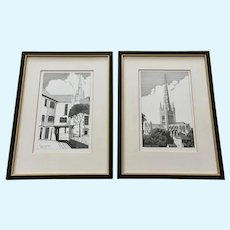 Pair of Scratchboard Pictures Norwich England Cathedral and Tombland Alley