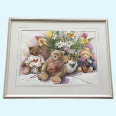 Taeko Yonetani, Teddy Bears and Flowers Still Life Watercolor Painting