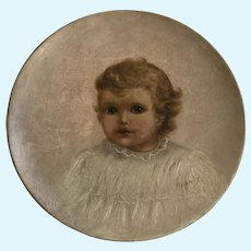 1880 Baby Girl Oil Painting Signed By Artist Winnie