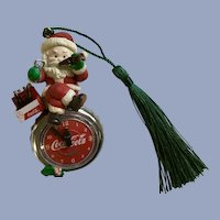 1995 Santa Drinking Coca-Cola on Clock Christmas Ornament