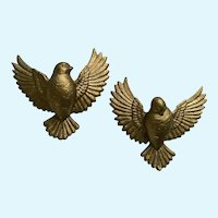 Burwood Gold Dove Birds Plastic Wall Plaques Plastic  1980's