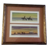 E. Narausukh Mongolian Watercolor Painting Works on Paper Hunters Hut and Horses Signed by Artist