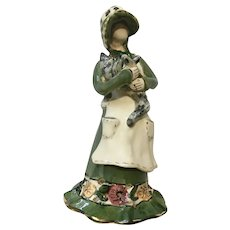 Country Girl Holding Cat Figurine Blue Sky Corporation