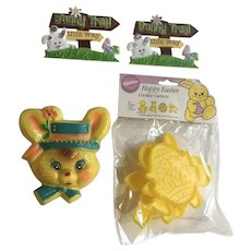Vintage Easter Cookie Cutters and Bunny Rabbit Cake Toppers