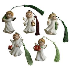 Homco Christmas Bisque Angel Ornaments Upgraded Tassels