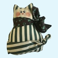 Vintage Folk Art Country Cat Firm Stuffed Animal Pillow