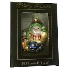 Fitz and Floyd Snowman Christmas Ornament Blown Glass Holiday Treasures