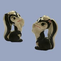 Mid-Century Skunk Salt & Pepper Ceramic Shakers Japan