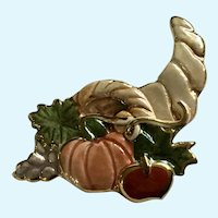 Thanksgiving Cornucopia Iridescent Pumpkin Autumn Brooch Pin