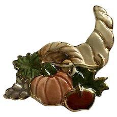 Thanksgiving Cornucopia Iridescent Pumpkin Autumn Brooch Pin