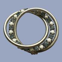 Stunning White & Baby Blue Rhinestone Silver-tone Brooch Pin