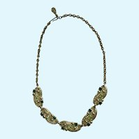 Mint & Forest Green Sparkle Rhinestones Gold-Tone Chain Necklace
