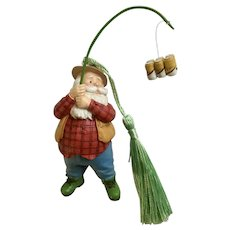 Santa Claus Fishing For Beer Christmas Tree Ornament