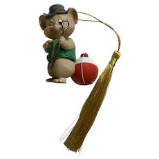 Hallmark Christmas Mouse Fishing with Bobber Ornament 1994