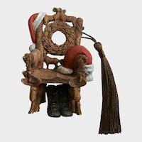 Santa Claus Folk-Art Chair Christmas Ornament Hallmark 2000
