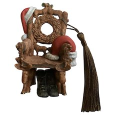 Santa Claus Folk-Art Chair Christmas Ornament Hallmark 2000