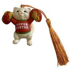 Cheerleading Cat Hallmark Christmas Super Sister Ornament 1993
