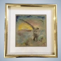 Logam Fisherman Impressionism Mix Media Works on Paper Watercolor Painting Signed by Artist