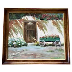 C Narzt, Old Wagon by Adobe Gate Oil Painting