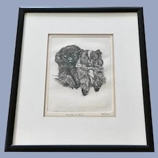 Helen Forman Pekingese Puppies Dogs Etching Signed by Listed Artist