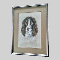 English Springer Spaniel Gun Dog Portrait Pastel Painting Monogrammed EWS