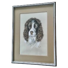 English Springer Spaniel Gun Dog Portrait Pastel Painting Monogrammed EWS