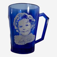 Shirley Temple Cobalt Blue Glass Cup 1930's