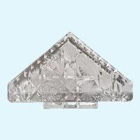Crystal Glass Napkin Holder Pinwheel & Hand Cut Hobstar