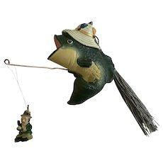 Fish Fishing for Humans Christmas Ornament