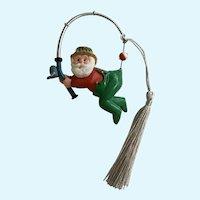 1991 Hallmark Fishing Santa Catching Himself Christmas Ornament