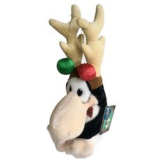 Opus Christmas Penguin Reindeer Stuffed Plush Animal Dakin 1985