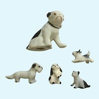Bone China Miniatures Japan Dogs Black and White Circa 1940's