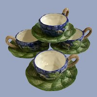 Vintage Fitz and Floyd Grape Cluster Cups and Saucers FF