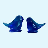 Ozark Bluebirds of Happiness Blown Glass Signed Bird Figurines